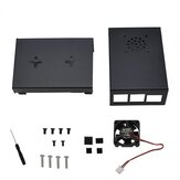 Black Aluminum Alloy Case Protective Shell Metal Enclosure + Black/Sliver Heatsink + Cooling Fan DIY Kit For Raspberry Pi 4
