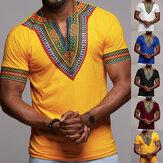 Blusa de manga corta étnica africana para hombre Estilo Dashiki Tops de impresión T Camisa Blusa