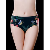 Plus Size Floral Printed Seamless Cotton Crotch Briefs