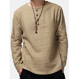 Charmkpr Mens Loose Long Sleeve Cotton Linen Tops Antibacteriano respirável Vintage Camisetas