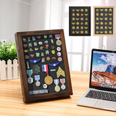 Pin Medal Wooden Display Case Storage Frame Box for Wall Hanging Desktop Decorations
