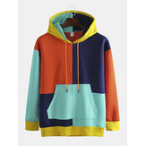 Men's Multi-color Patch Hooded Loose Trend Hip-hop Plus Cashmere Sweatshirt