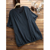 Solid Batting Sleeve O-neck Casual Blouse