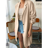 Women Solid Button Long Thin Coats Cardigans