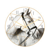 Loskii CC017 Creative Horse Pattern Wall Clock Mute Wall Clock Quartz Wall Clock For Home Office Decorations