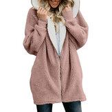 Mulheres cor sólida manga comprida com zíper casacos casuais