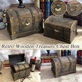 Retro drewniane pudełko piratów skrzynia skarbów Klejnot Biżuteria Case Storage Organizer Ozdoba Keepsake Treasure Case Decor with Lock