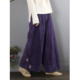 Embroidered Corduroy Elastic Waist Vintage Wide Leg Pants