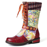 SOCOFY Genuine Leather Pattern Stitching Mid Calf Boots