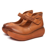 SOCOFY Soft Flat Leather Loafers