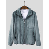 Mens Plush Pure Color Chest Pocket Manga comprida Casual Jacket