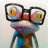 Miico Hand Painted Oil Paintings Animal Modern Art Happy Frog With Glasses On Canvas Wall Art For Home Decoration 30x30cm
