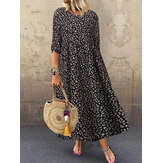 3/4 Sleeve Casual Loose Leopard Printed Long Maxi Dress