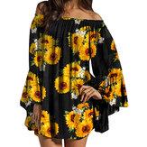 Fora do ombro impressão floral plissado manga blusa mini vestido