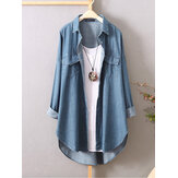 Dames lange mouwen button-down shirts Casual losse denim blouse