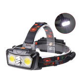 XANES® BT005 1300LM T6 + 2xCOB LED HeadLamp Waterdicht 4 modi Outdoor Running Camping Wandelen Fietslicht 2x18650 DC oplaadbare interface