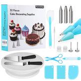 52 Pcs / set Alat Kue Dekorasi Set Hadiah Kit Perlengkapan Kue Turntable Spatula Berdiri Diy Peralatan untuk Anak-anak Rumah