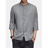 Mens Vintage Long Sleeve Solid Color Turn Down Collar Shirts