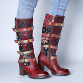 SOCOFY Vintage Embossed Genuine Leather Stitching Printing Metal Buckle Mid Calf Boots