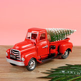 Kerst Metal Car Antique Red Truck Model Vintage Style Party Decorations + Gift
