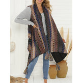 Plus Size Women Winter Sleeveless Cloak Vest Tassel Knit Poncho Cardigans
