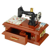 Mini Sewing Machine Clockwork Music Box Retro Vintage Table Home Decorations