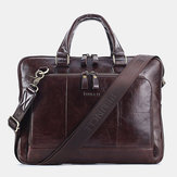 Men Genuine Leather Large Capacity Handbag Business Bag