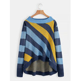 Women Casual Striped Off Shoulder Irregular Hem Sweaters