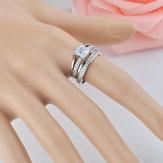 Luxury Geometric Square Diamond Couple Rings High-grade Zircon Ring