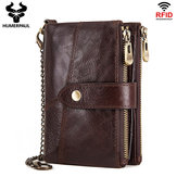 Men Gneuine Leather Vinatge RFID Blocking Anti-theft Chain Wallet Card Holder