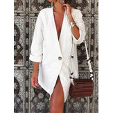 Womens 3/4 Sleeve Cotton Solid Casual Loose Blazer