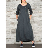 Women Vintage Casual Loose Button Pockets 3/4 Sleeve Dress