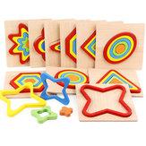 Forme Cognition Conseil Géométrie Jigsaw Puzzle En Bois Enfants Jouets D'apprentissage Éducatifs