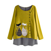 Stripe Cartoon Gato Blusa estampada patchwork de manga larga