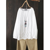 Women White Hollow Out Cotton Loose Casual Blouse