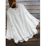 Women Pure Color Hollow Out Lace Patchwork 3/4 Sleeve Blouse