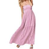Mulheres elegantes babados sem alças de crochê vestido maxi casual