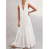 Women V-neck Sleeveless Tassel Casual Loose Maxi Dress