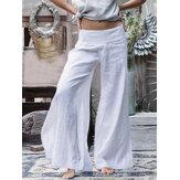 Geniş Bacak Kadın Gündelik Gevşek Düz Renk Elastik Bel Pantolon Pantolon