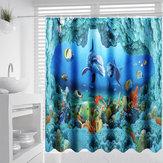 Ocean Dolphin Deep Sea Ванная комната Занавеска для душа Водонепроницаемы Набор ковриков 180x180см