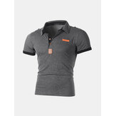 Patchwork Business Slim Golf Shirt aus Baumwolle