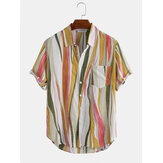 Cotton Abstract Geometric Print Short Sleeve Casual Shirts