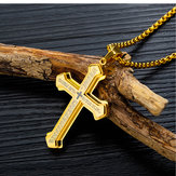Drielaags Cross Titanium stalen heren ketting