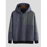 Mens Loose Fashion New Casual Knitted Patchwork Hoodie Sweat