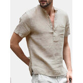 INCERUN Men's Button V-Neck Casual T-shirts Summer Short Sleeve Comfort Loose Solid Color Tops Tees