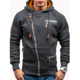 Men's Fashion Zipper Decoration Hoodies Drawstring Long Sleeve Casual Sweatshirts