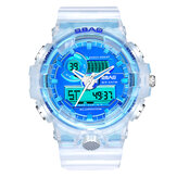 SBAO 8018 Waterproof LED Display Dual Display Watch Transparent Digital Watch