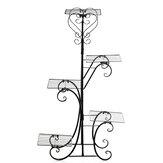 5 Nível de Metal Planta Suporte de Prateleira para Vaso de Flores Resistente à Ferrugem para Suporte de Exposição Rotativo para Interior e Exterior