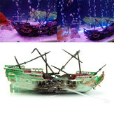 24cm Broken Resin Wreck Sailing Boat Sunk Ship Air Split Fish Tank Cave Decorations