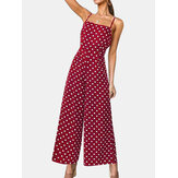 Women Polka Dot Spaghetti Strap Long Rompers